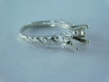6376 RING STERLING SILVER THREE STONE, 8.5 MM & 2-4 MM, SIZE 8.5