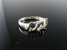 R128 RING SETTING STERLING SILVER, SIZE 8.5, 6x4MM OVAL 3 STONE