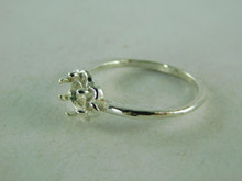 6398 STERLING SILVER RING SETTING, 6 MM ROUND FACETED OR CABACHON GEMSTONE, SIZE 8.75