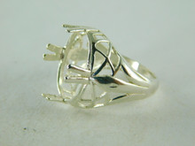 6408 STERLING SILVER FILIGREE RING SETTING, 16X12 OVAL FACETED GEMSTONE, SIZE 6.5
