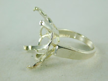 6410 STERLING SILVER FILIGREE RING SETTING, 22X16 MM EMERALD CUT FACETED GEMSTONE, SIZE 8.25