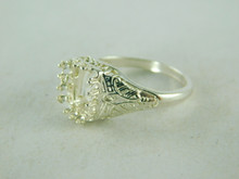 6411 STERLING SILVER FILIGREE RING SETTING, 8X6 MM EMERALD CUT FACETED GEMSTONE,  SIZE 8