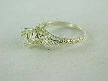 6413 STERLING SILVER FILIGREE RING SETTING, 6 MM ROUND FACETED GEMSTONE, SIZE 6.25