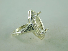 6415 STERLING SILVER RING SETTING, 20X10 MM MARQUISE FACETED GEMSTONE, SIZE 7