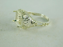 6421 STERLING SILVER FILIGREE RING SETTING, 10X8 EMERALD CUT FACETED GEMSTONE, SIZE 8.5