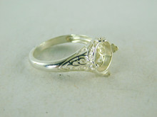 6429 STERLING SILVER FILIGREE RING SETTING, 10 MM ROUND CABOCHON GEMSTONE, SIZE 6.25