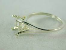 6440 STERLING SILVER RING SETTING, 8X6 MM EMERALD CUT FACETED GEMSTONE, 8