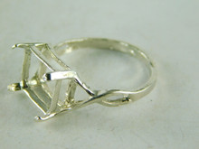 6445 STERLING SILVER RING SETTING, 11X9 EMERALD CUT FACETED GEMSTONE, SIZE 8