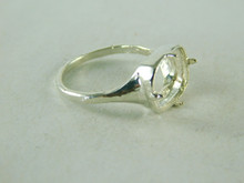 6448 STERLING SILVER RING SETTING, 12X10 MM EMERALD W/CLIPPED CORNERS FACETED OR CABOCHON GEMSTONE, SIZE 10.5