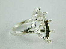 6457 STERLING SILVER RING SETTING, 20X10 MM MARQUISE FACETED GEMSTONE, SIZE 5.75