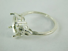 6458 STERLING SILVER RING SETTING, 5 STONE 1 - 12X10 MM OVAL & 4 - 3 MM ROUND FACETED GEMSTONE, SIZE  8
