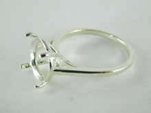 6460 STERLING SILVER RING SETTING, 11 MM ROUND FACETED GEMSTONE, SIZE 8