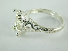 6462 STERLING SILVER FILIGREE RING SETTING, 12X10 MM OVAL FACETED GEMSTONE, SIZE 10.5