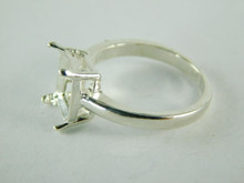 6463 STERLING SILVER RING SETTING, 10X8 EMERALD CUT FACETED GEMSTONE, SIZE 7.75