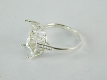 6467 STERLING SILVER RING SETTING, 14X10 MM EMERALD CUT FACETED GEMSTONE, SIZE 9.5