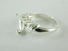 6472 STERLING SILVER HEART RING SETTING, 9 MM HEART FACETED GEMSTONE, SIZE 7