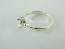 6475 STERLING SILVER RING SETTING, 4.5 MM ROUND FACETED GEMSTONE, SIZE 6.5
