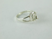 6477 STERLING SILVER RING SETTING, 7X5 MM OVAL FACETED GEMSTONE, SIZE 6.75