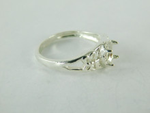 6478 STERLING SILVER FILIGREE RING SETTING, 7X5 MM OVAL FACETED GEMSTONE, SIZE 8.75