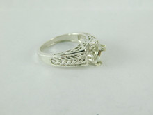 6479 STERLING SILVER RING SETTING, 7.5 MM ROUND FACETED GEMSTONE, SIZE 6.75