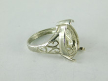 6483 STERLING SILVER FILIGREE RING SETTING, 17X12 MM PEAR FACETED GEMSTONE, SIZE 7.25