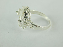 6484 STERLING SILVER FILIGREE RING SETTING, 14X10 MM OVAL CABOCHON ONLY GEMSTONE, SIZE 8