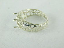 6485 STERLING SILVER FILIGREE RING SETTING, 9X7 MM OVAL FACETED GEMSTONE, SIZE 6.25
