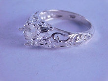 6281 STERLING SILVER FILIGREE RING SETTING, 7 MM SQUARE FACETED GEMSTONE, SIZE 8