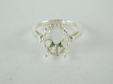 6486 STERLING SILVER RING SETTING, 12X10 MM OVAL FACETED GEMSTONE, SIZE 6.5