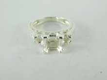 6488 STERLING SILVER RING SETTING, 3 STONE, 1 - 5.5 MM PRINCESS & 2 - 2.5 MM ACCENTS FACETED GEMSTONE, SIZE 5