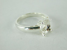 6490 STERLING SILVER RING SETTING, 9X7 OVAL FACETED GEMSTONE, SIZE 7.25