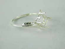6494 STERLING SILVER RING SETTING, 8X6 MM EMERALD CUT FACETED GEMSTONE, SIZE 8.5