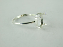 6497 STERLING SILVER RING SETTING, 10X8 MM OVAL FACETED OR CABOCHON GEMSTONE, SIZE 8
