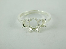 6498 STERLING SILVER RING SETTING, 3 STONE, 1 - 9X7 MM OVAL & 2 - 4 MM ROUND FACETED GEMSTONE, SIZE 8
