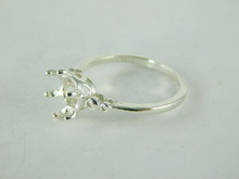 6499 STERLING SILVER RING SETTING, 7 MM ROUND FACETED GEMSTONE, SIZE 7.5