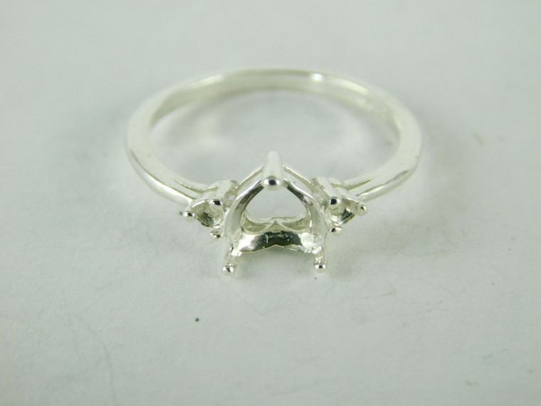 3.5 mm Round Stone D6302 Sterling Silver Ring Setting Size 7.25