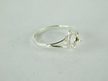 6504 STERLING SILVER RING SETTING, 5.5 MM ROUND FACETED GEMSTONE, SIZE 7.5