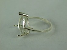 6509 STERLING SILVER RING SETTING, 15 MM HEART FACETED GEMSTONE, SIZE 8