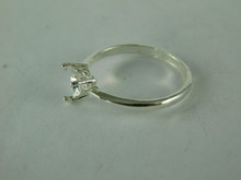 6510 STERLING SILVER RING SETTING, 6 MM HEART FACETED GEMSTONE, SIZE 8.5
