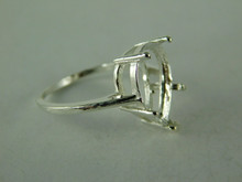 6512 STERLING SILVER RING SETTING, 15X10 MM PEAR CUT FACETED GEMSTONE, SIZE 8.25