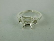 6514 STERLING SILVER RING SETTING, 3 STONE, 10X8 MM EMERALD SHALLOW CUT & 2-3.5 MM ROUND FACETED GEMSTONE, SIZE 7.75
