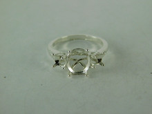 6515 STERLING SILVER RING SETTING, 3 STONE, 9X7 MM OVAL & 2-4.5 MM ROUND FACETED GEMSTONE, SIZE 7.25