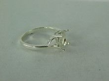 6517 STERLING SILVER RING SETTING, 9X7 MM OVAL FACETED GEMSTONE, SIZE 8