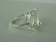 6519 STERLING SILVER RING SETTING, 18X13 MM OVAL FACETED GEMSTONE, SIZE 7.5