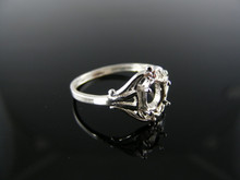 3097 RING SETTING STERLING SILVER, SIZE 5.75, 6x4 MM OVAL FACETED STONE