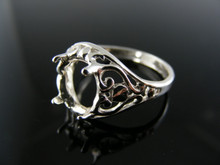 R85 RING SETTING STERLING SILVER, SIZE 8.25, 10X8MM OVAL STONE