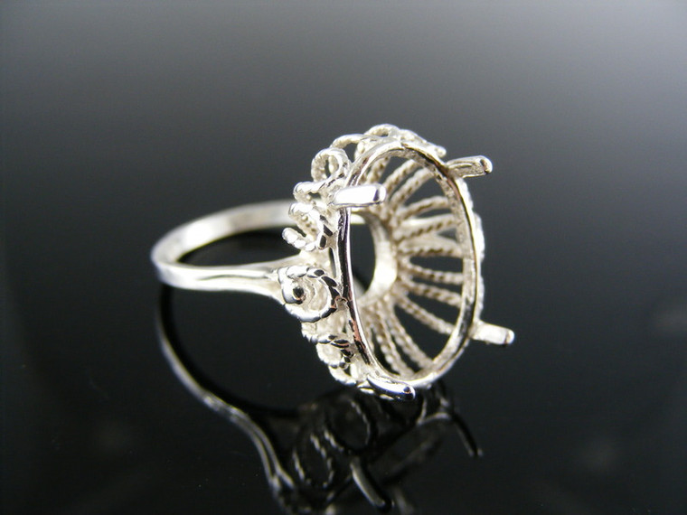 2116 Sterling Silver Ring Setting 16x12mm Oval Stone Size 5.25