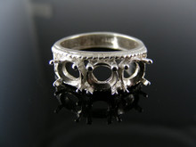 5530 RING SETTING, STERLING SILVER, SIZE 6,  3) 6 MM ROUND STONE