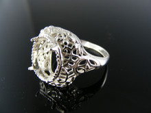 R114 RING SETTING, STERLING SILVER, SIZE 7.5, 12X10 MM OVAL STONE