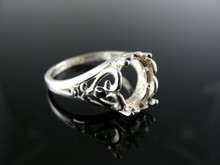 R87  RING SETTING STERLING SILVER, SIZE 9, 9X7MM OVAL CAB. OR FACETED
